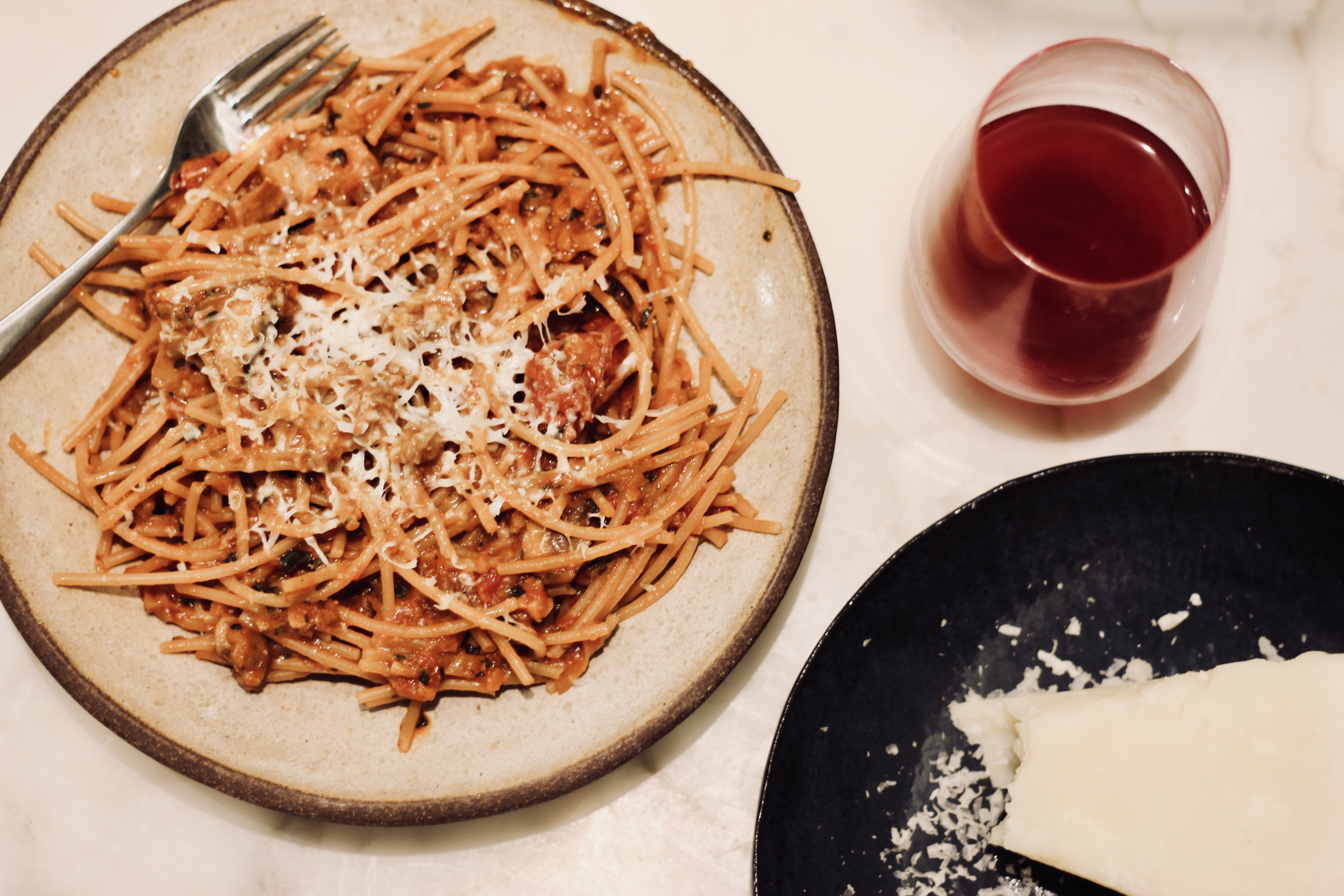 Family dinners wine with dinner mushroom bolognese with kale forumfinder Choice Image