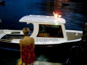 La Gavitella's boat picks you up at your hotel dock.